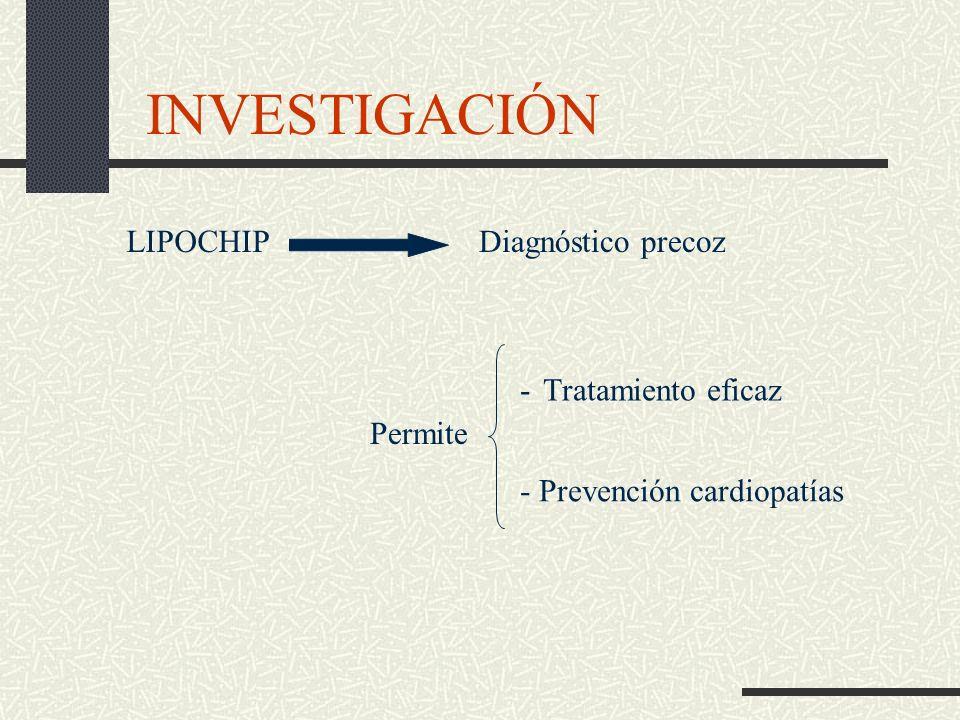 INVESTIGACIÓN LIPOCHIP Diagnóstico precoz - Tratamiento eficaz Permite