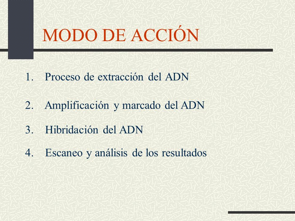 MODO DE ACCIÓN 1. Proceso de extracción del ADN