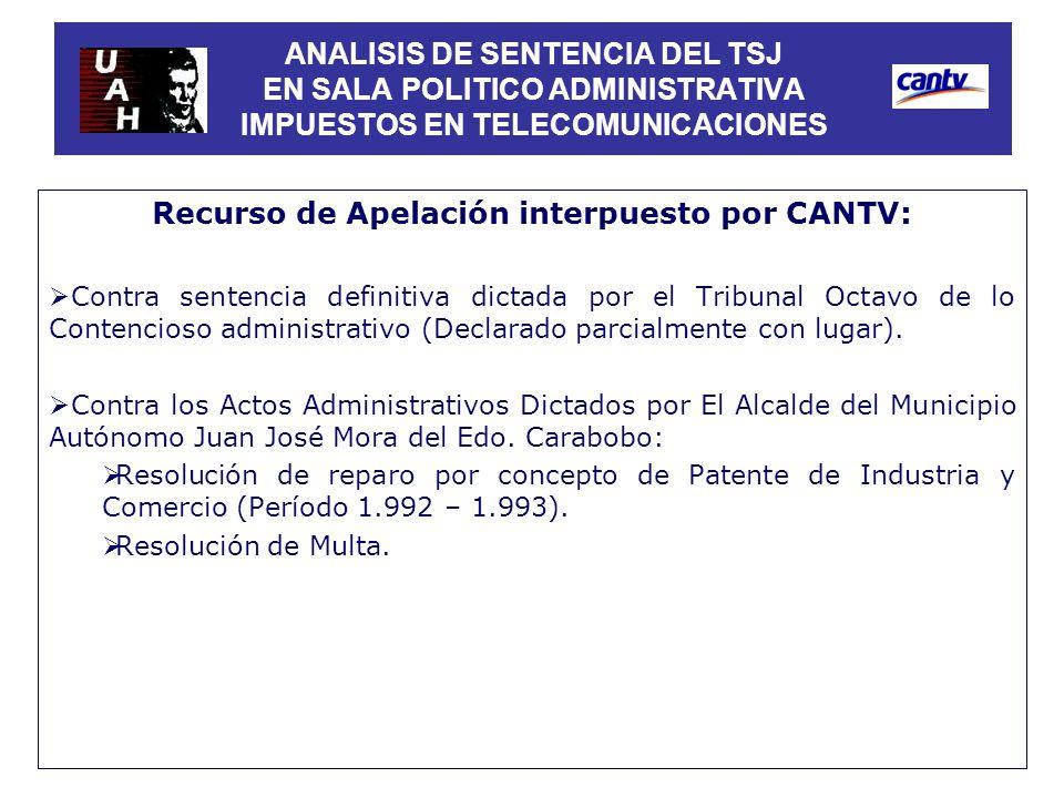 Recurso de Apelación interpuesto por CANTV: