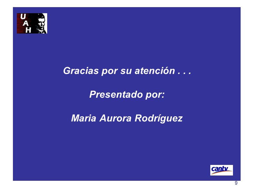 Gracias por su atención . . . Presentado por: Maria Aurora Rodríguez