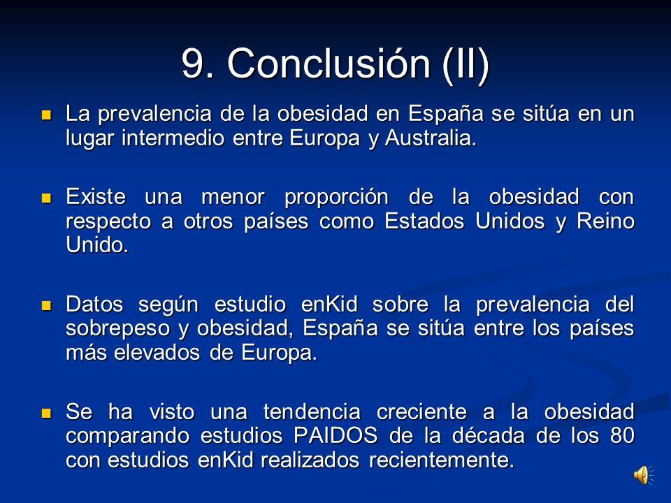 9. Conclusión (II) La prevalencia de la obesidad en España se sitúa en un lugar intermedio entre Europa y Australia.