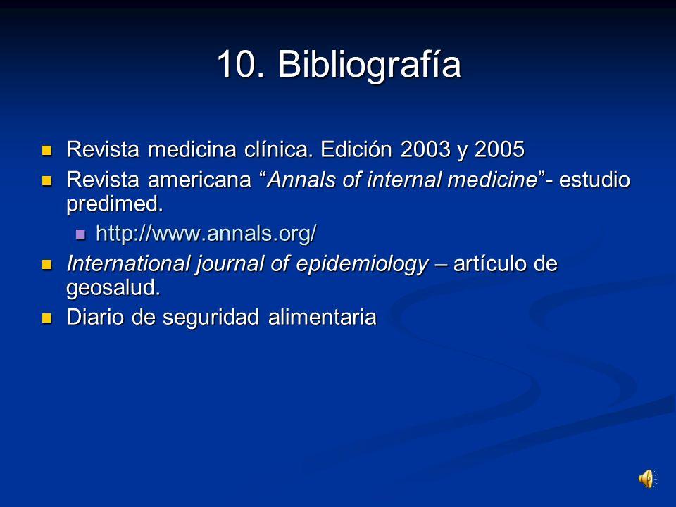 10. Bibliografía Revista medicina clínica. Edición 2003 y 2005