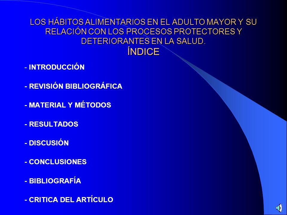 LOS HÁBITOS ALIMENTARIOS EN EL ADULTO MAYOR Y SU RELACIÓN CON LOS PROCESOS PROTECTORES Y DETERIORANTES EN LA SALUD. ÍNDICE