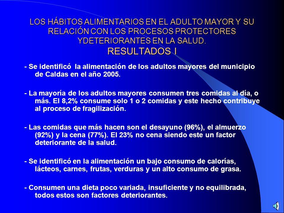 LOS HÁBITOS ALIMENTARIOS EN EL ADULTO MAYOR Y SU RELACIÓN CON LOS PROCESOS PROTECTORES YDETERIORANTES EN LA SALUD. RESULTADOS I