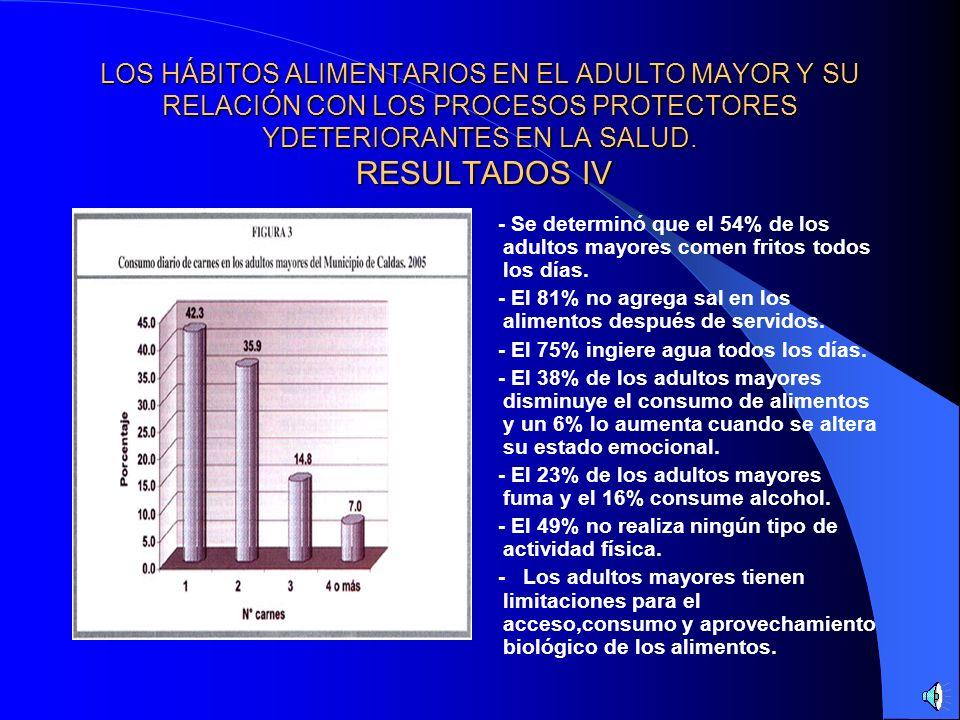 LOS HÁBITOS ALIMENTARIOS EN EL ADULTO MAYOR Y SU RELACIÓN CON LOS PROCESOS PROTECTORES YDETERIORANTES EN LA SALUD. RESULTADOS IV