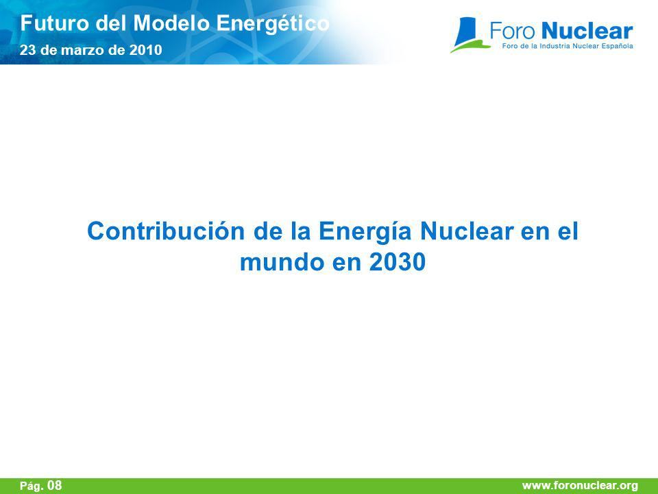 Contribución de la Energía Nuclear en el mundo en 2030