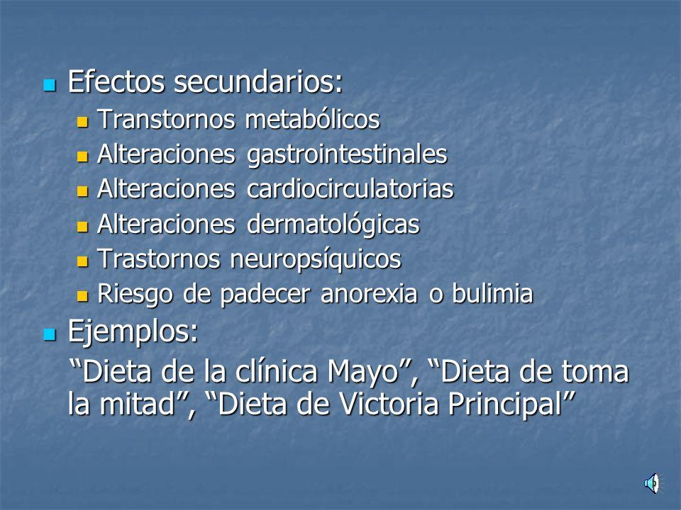 Efectos secundarios: Ejemplos: