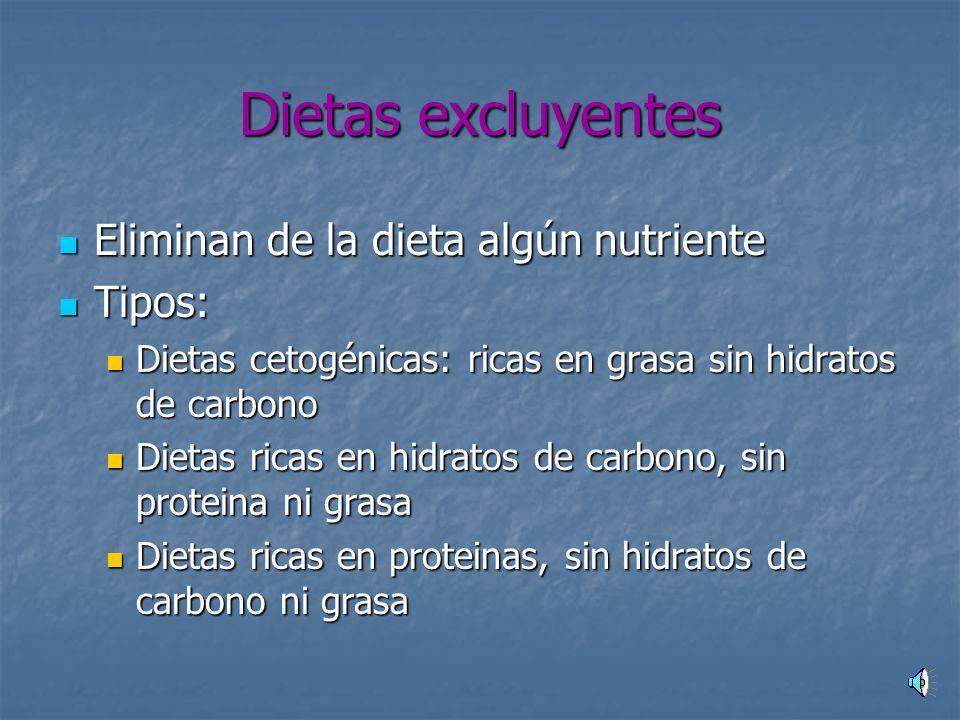Dietas excluyentes Eliminan de la dieta algún nutriente Tipos: