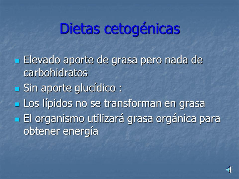 Dietas cetogénicas Elevado aporte de grasa pero nada de carbohidratos
