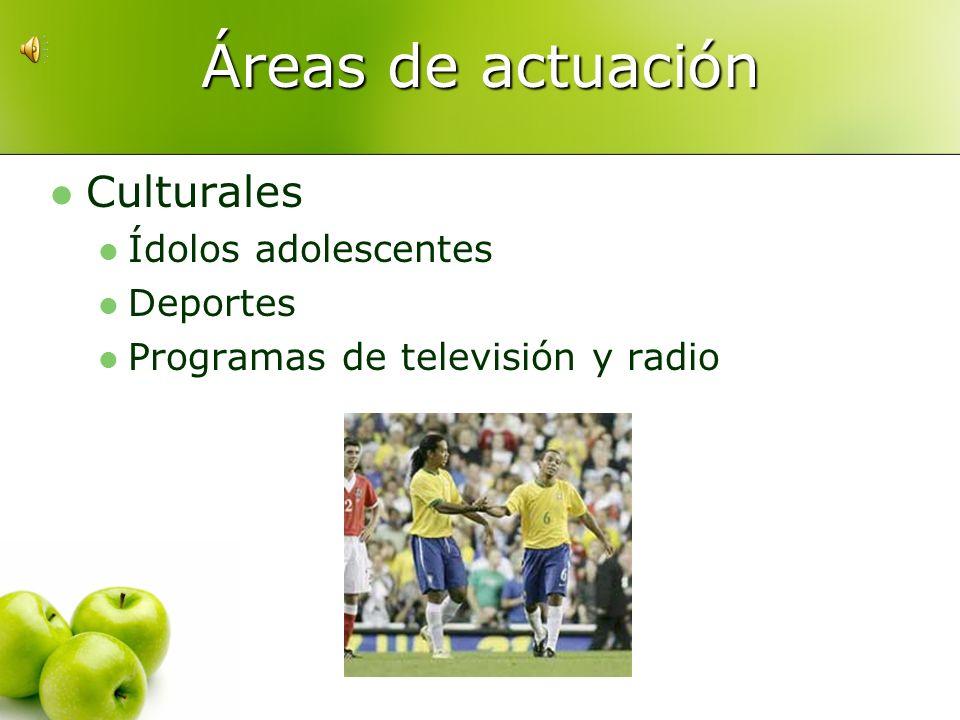 Áreas de actuación Culturales Ídolos adolescentes Deportes