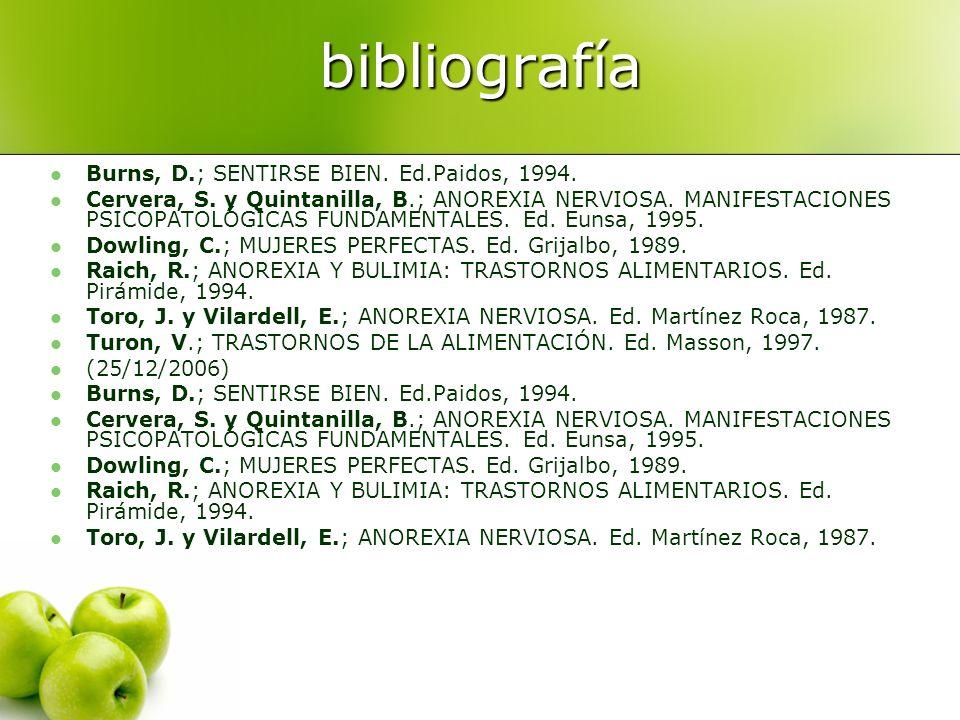 bibliografía Burns, D.; SENTIRSE BIEN. Ed.Paidos, 1994.