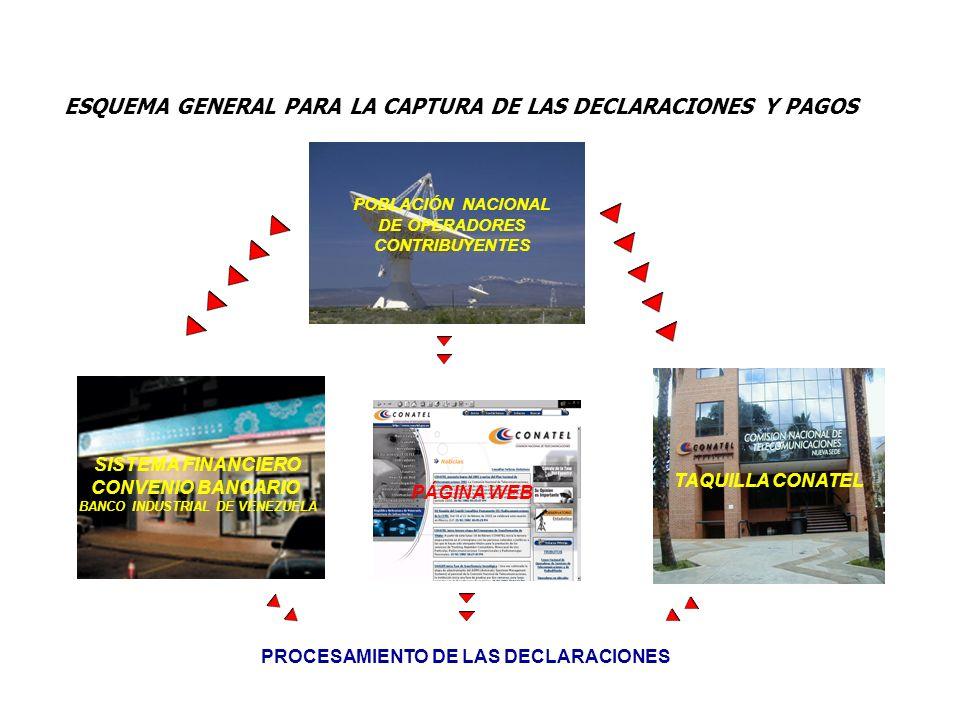 ESQUEMA GENERAL PARA LA CAPTURA DE LAS DECLARACIONES Y PAGOS