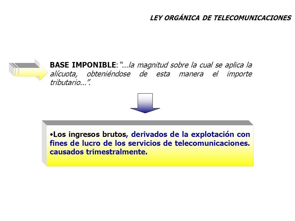 Los ingresos brutos, derivados de la explotación con fines de lucro de los servicios de telecomunicaciones. causados trimestralmente.