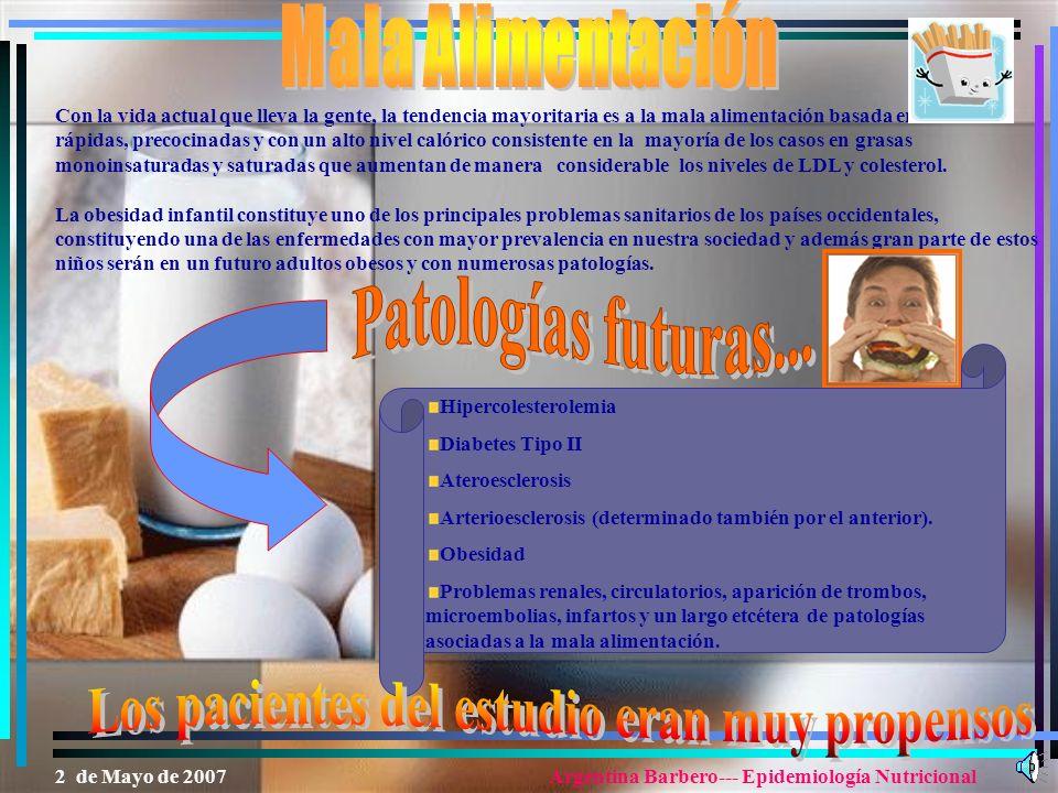 Patologías futuras... Mala Alimentación