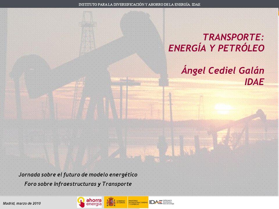 TRANSPORTE: ENERGÍA Y PETRÓLEO Ángel Cediel Galán IDAE