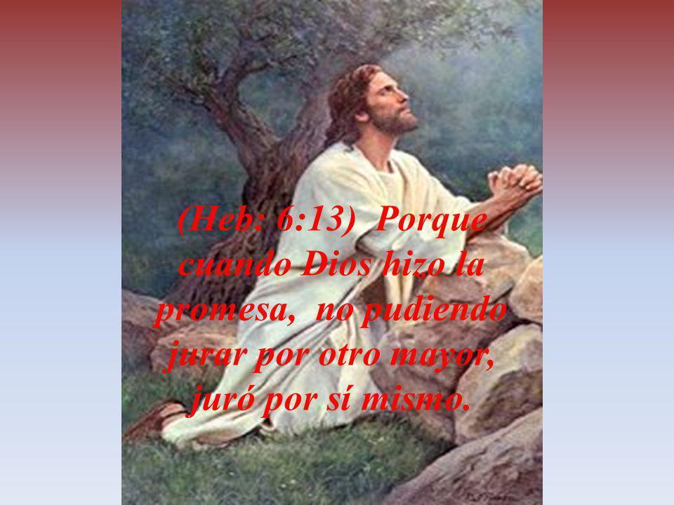 (Heb: 6:13) Porque cuando Dios hizo la promesa, no pudiendo jurar por otro mayor, juró por sí mismo.