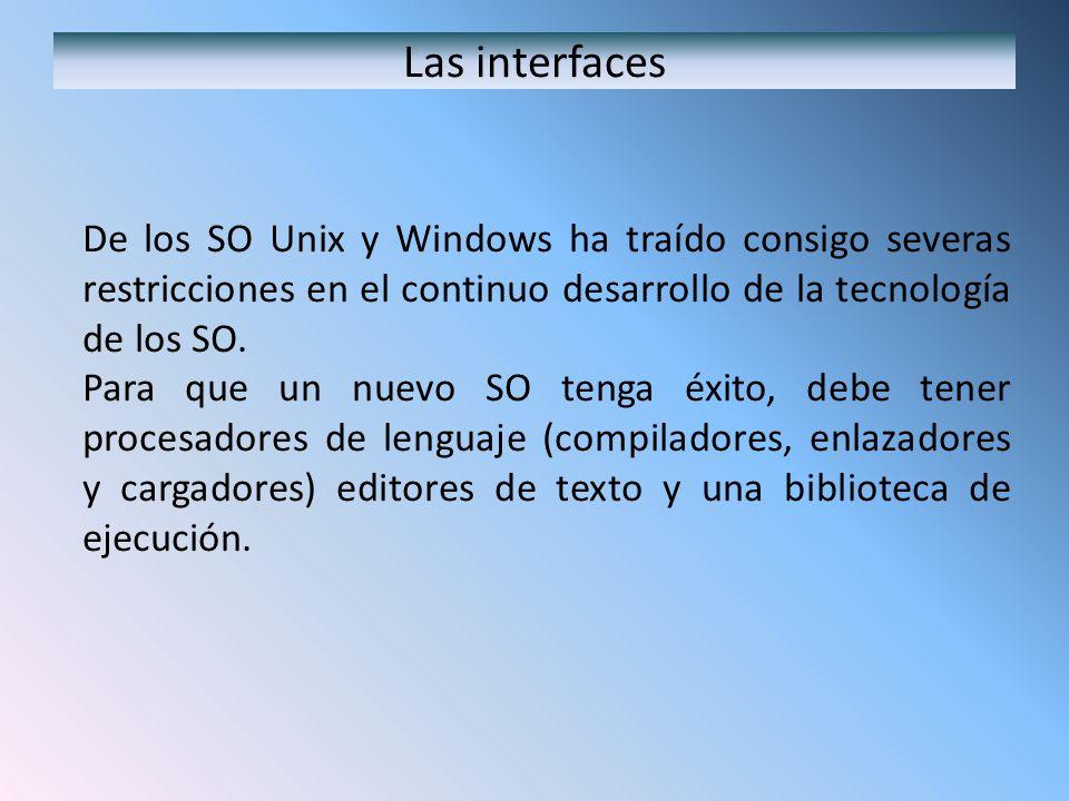 Las interfaces De los SO Unix y Windows ha traído consigo severas restricciones en el continuo desarrollo de la tecnología de los SO.