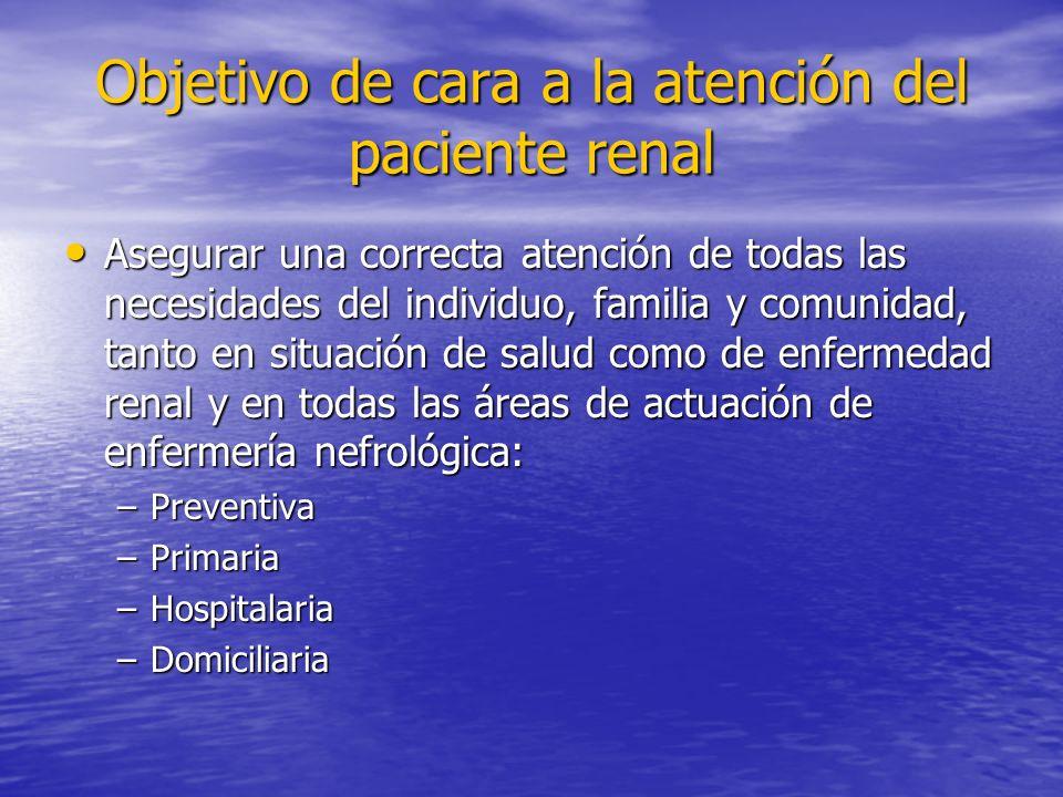 Objetivo de cara a la atención del paciente renal