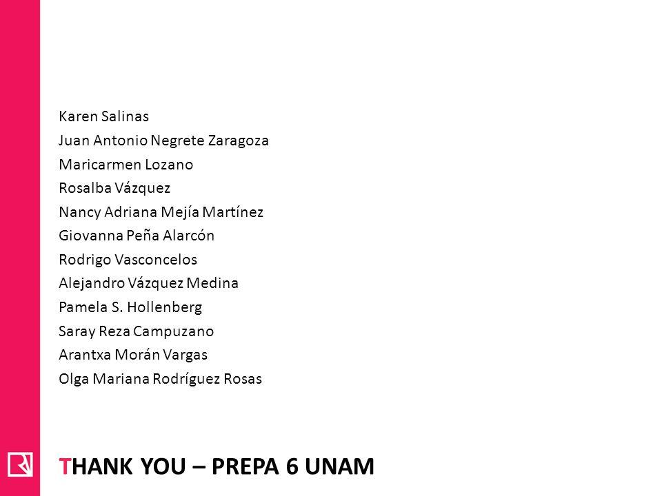 Thank you – PREPA 6 UNAM Karen Salinas Juan Antonio Negrete Zaragoza