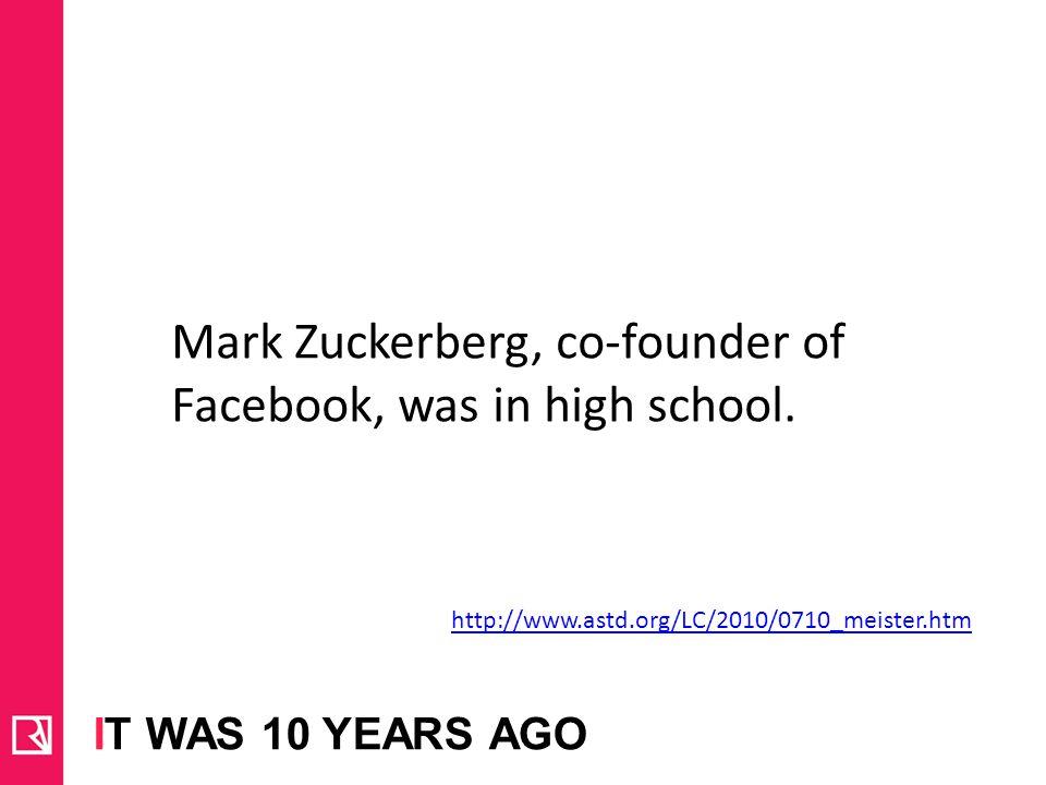 Mark Zuckerberg, co-founder of Facebook, was in high school.
