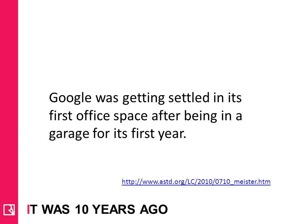 Google was getting settled in its first office space after being in a garage for its first year.