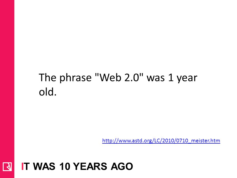 The phrase Web 2.0 was 1 year old.