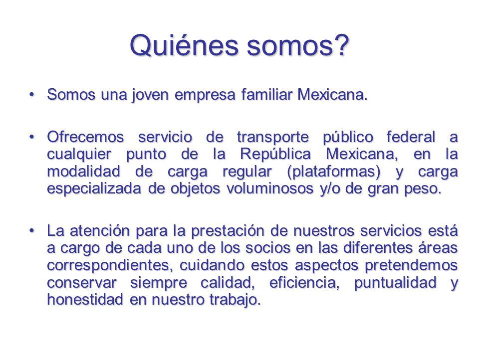 Quiénes somos Somos una joven empresa familiar Mexicana.