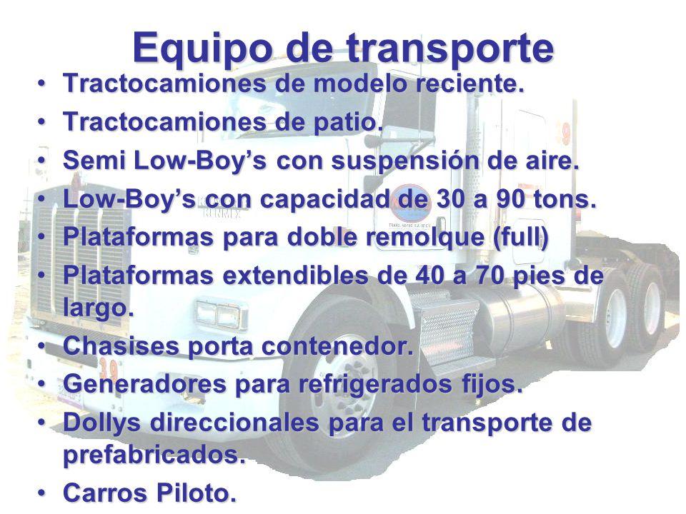 Equipo de transporte Tractocamiones de modelo reciente.