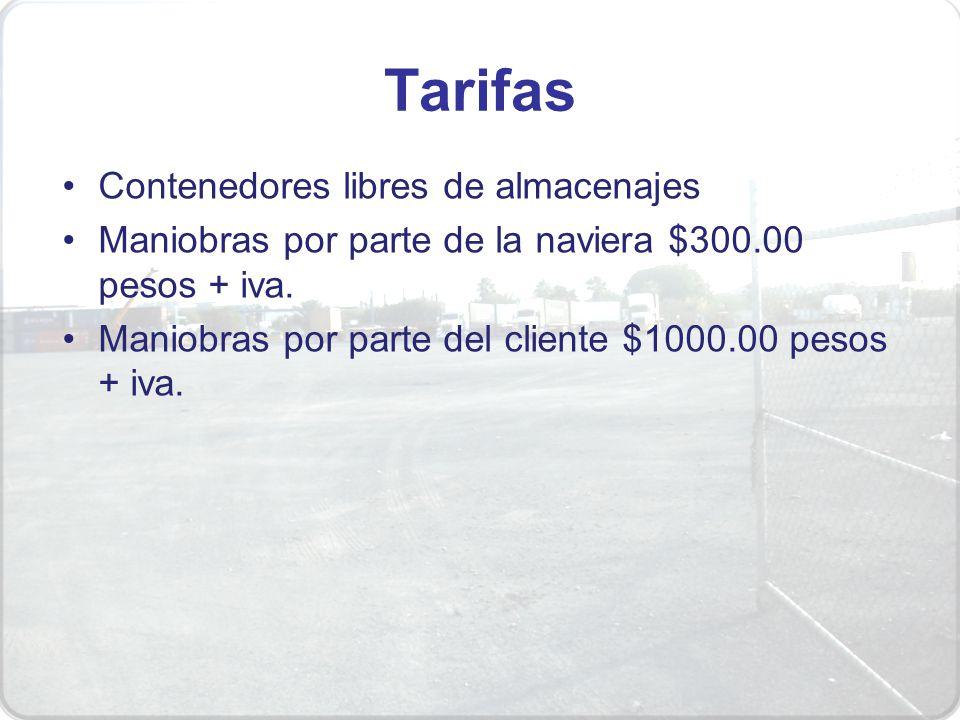 Tarifas Contenedores libres de almacenajes