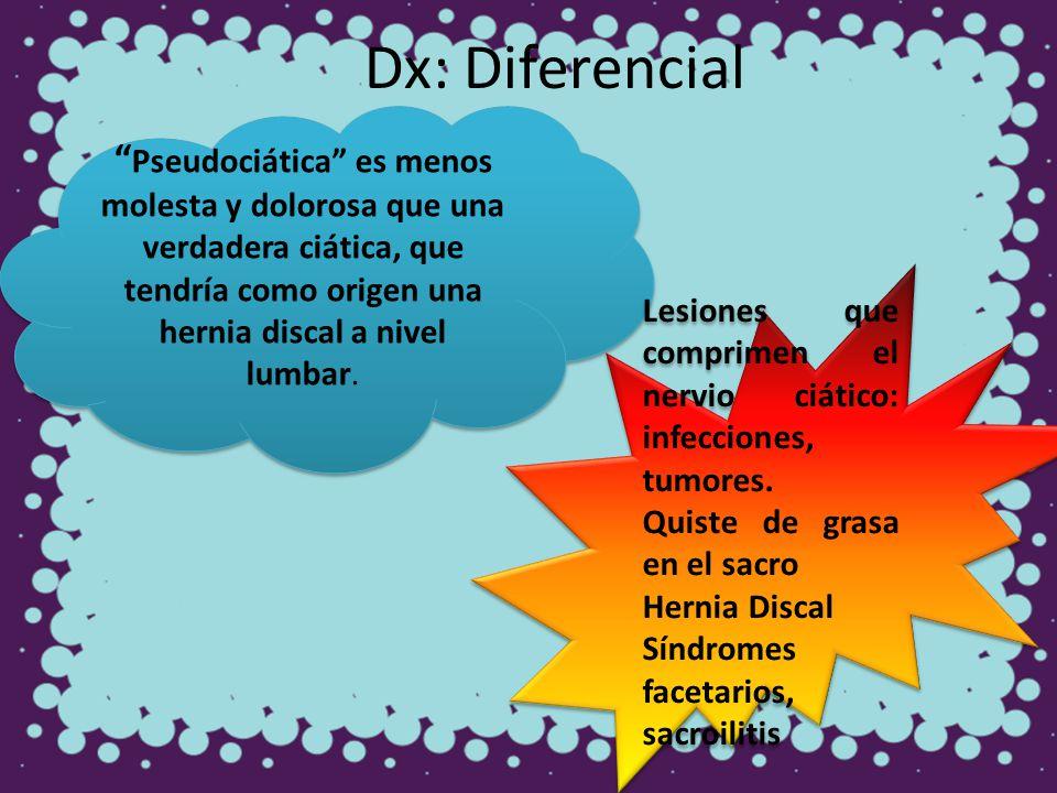 Dx: Diferencial Pseudociática es menos molesta y dolorosa que una verdadera ciática, que tendría como origen una hernia discal a nivel lumbar.