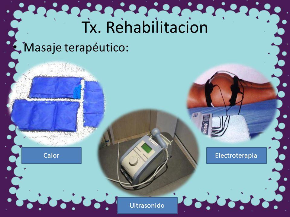 Tx. Rehabilitacion Masaje terapéutico: Calor Electroterapia