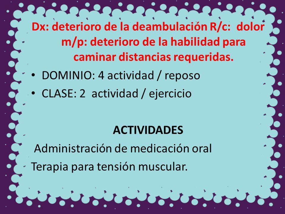 Dx: deterioro de la deambulación R/c: dolor m/p: deterioro de la habilidad para caminar distancias requeridas.