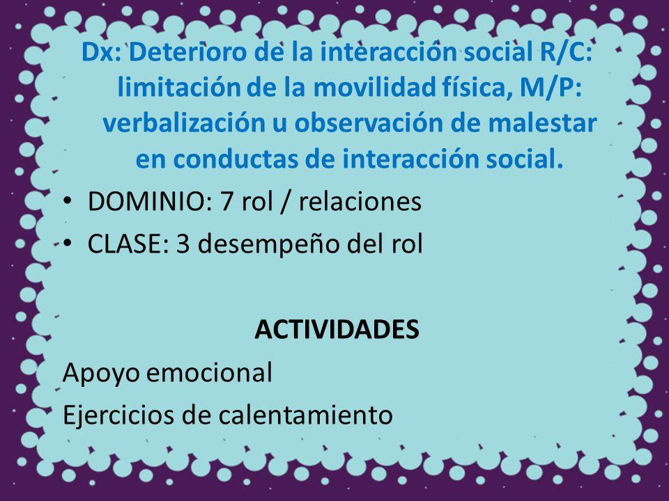 Dx: Deterioro de la interacción social R/C: limitación de la movilidad física, M/P: verbalización u observación de malestar en conductas de interacción social.