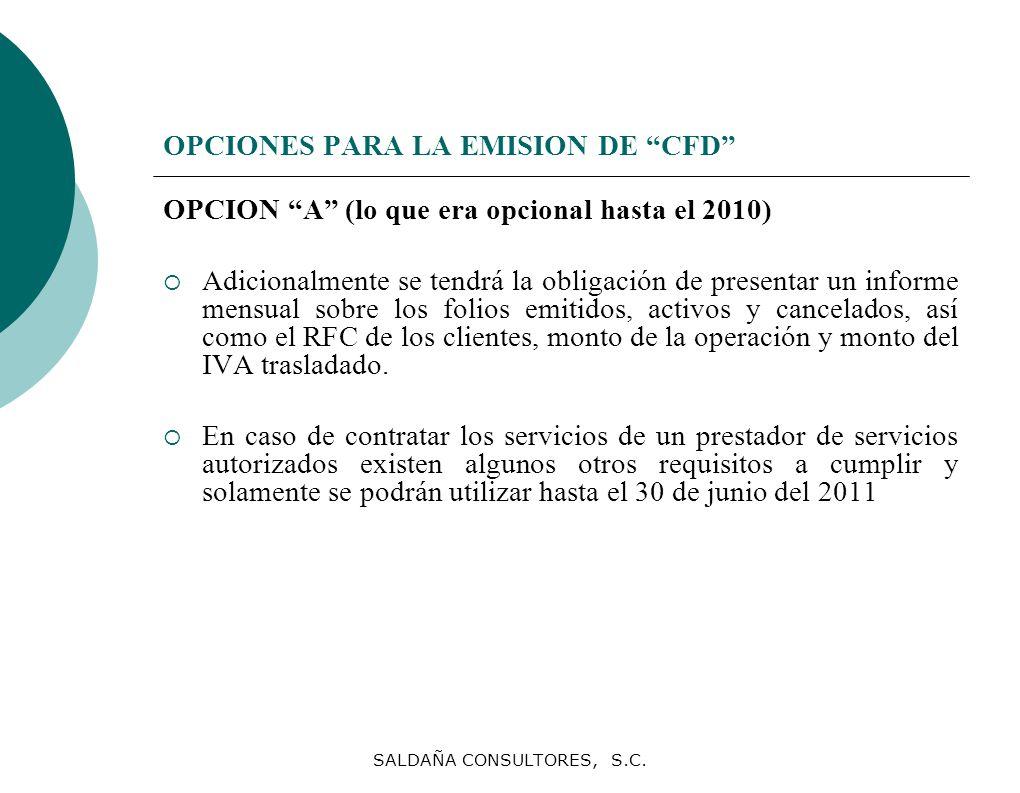 OPCIONES PARA LA EMISION DE CFD