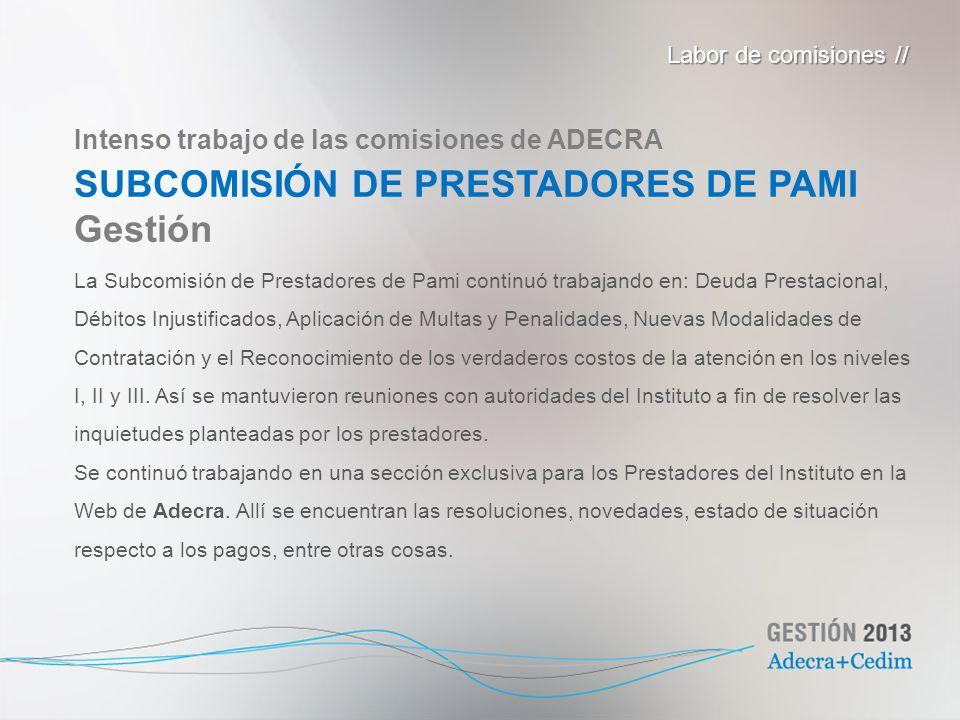 SUBCOMISIÓN DE PRESTADORES DE PAMI Gestión