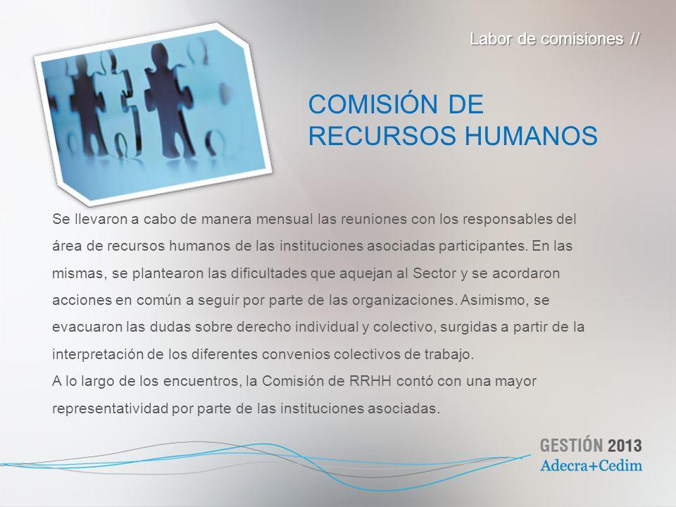 COMISIÓN DE RECURSOS HUMANOS Labor de comisiones //