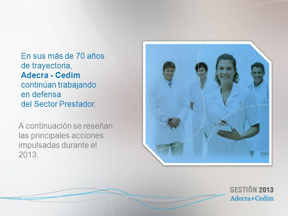 En sus más de 70 años de trayectoria, Adecra - Cedim. continúan trabajando. en defensa. del Sector Prestador.
