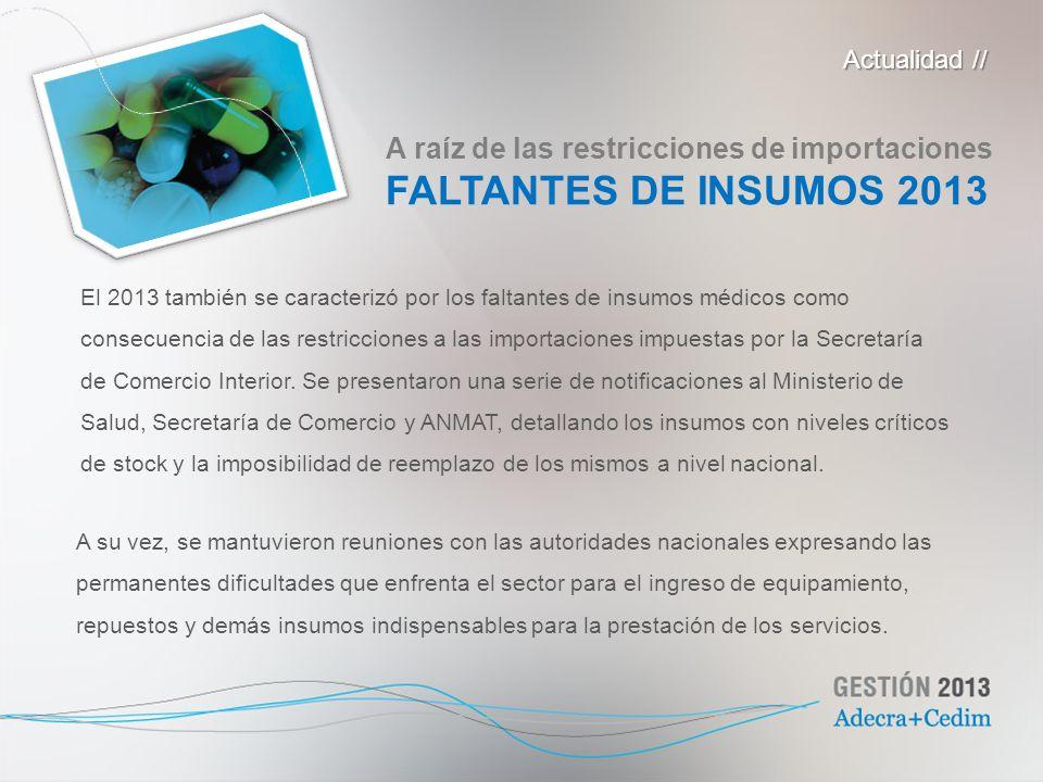 FALTANTES DE INSUMOS 2013 A raíz de las restricciones de importaciones