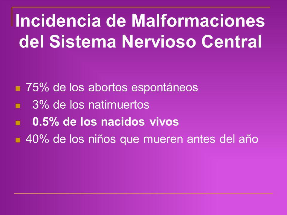 Incidencia de Malformaciones del Sistema Nervioso Central