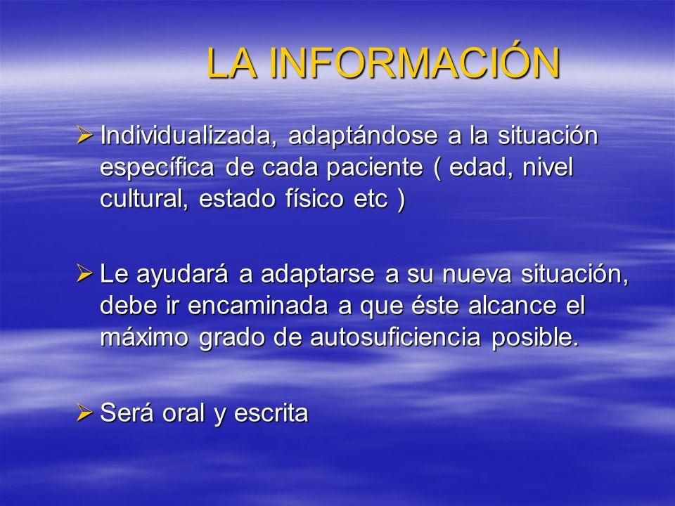 LA INFORMACIÓN Individualizada, adaptándose a la situación específica de cada paciente ( edad, nivel cultural, estado físico etc )