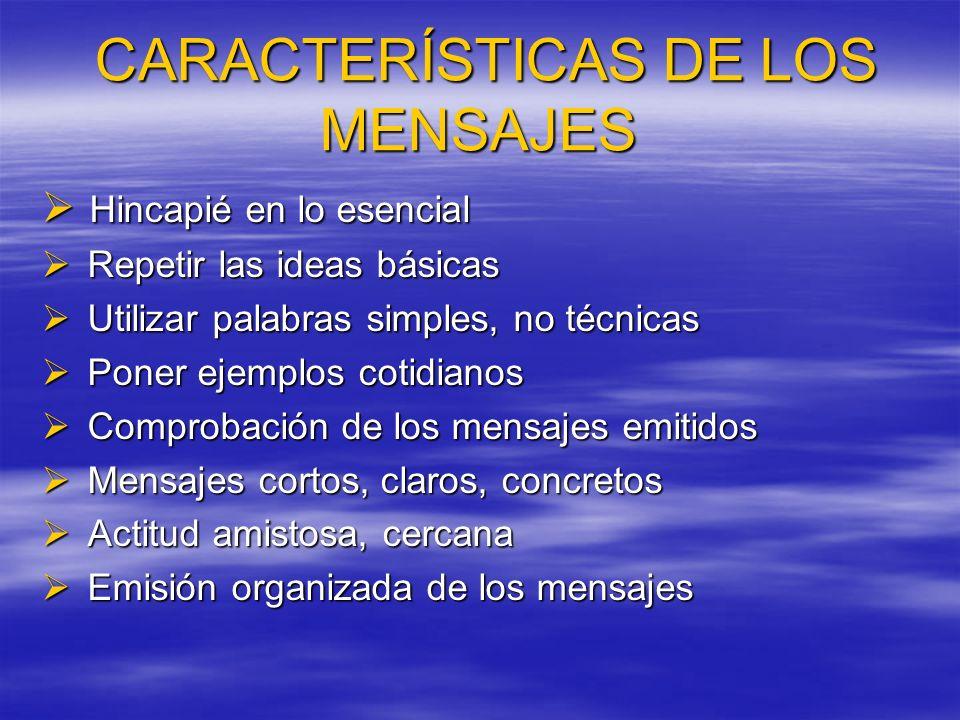CARACTERÍSTICAS DE LOS MENSAJES