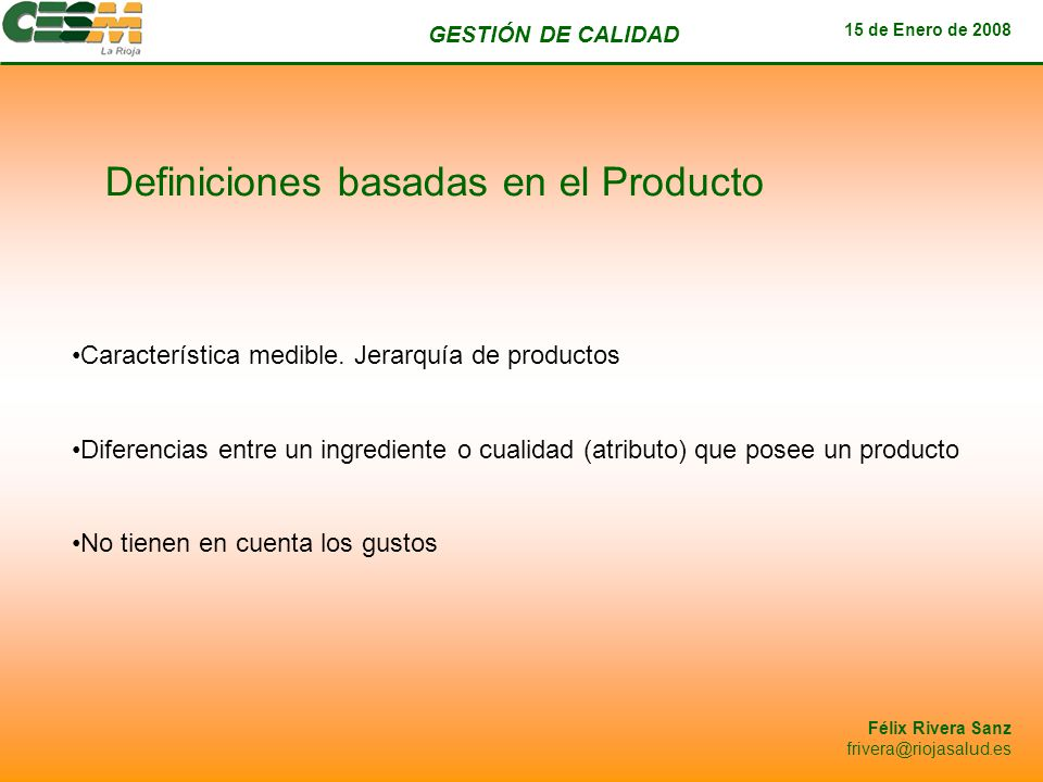 Definiciones basadas en el Producto