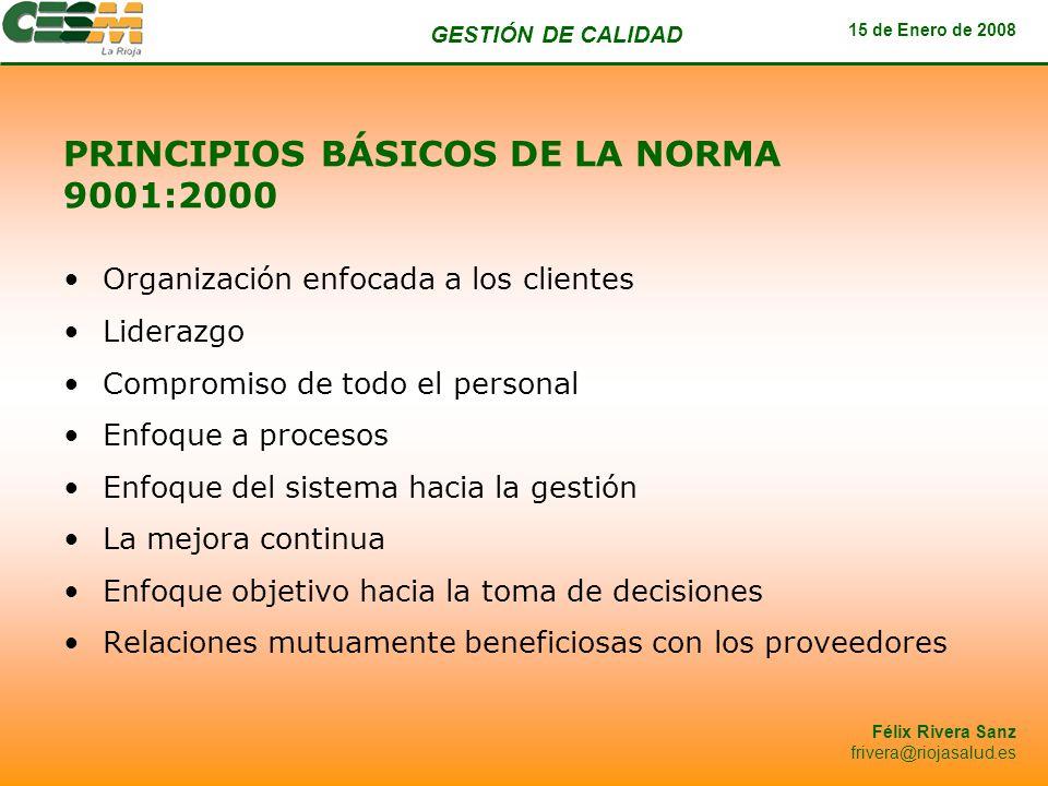PRINCIPIOS BÁSICOS DE LA NORMA 9001:2000