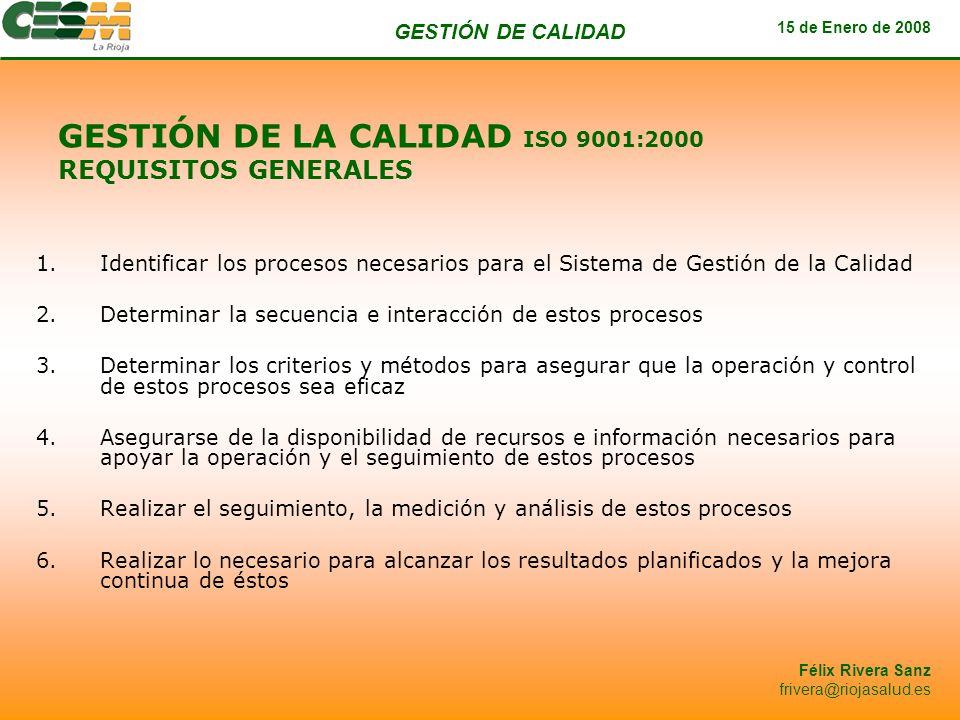 GESTIÓN DE LA CALIDAD ISO 9001:2000 REQUISITOS GENERALES