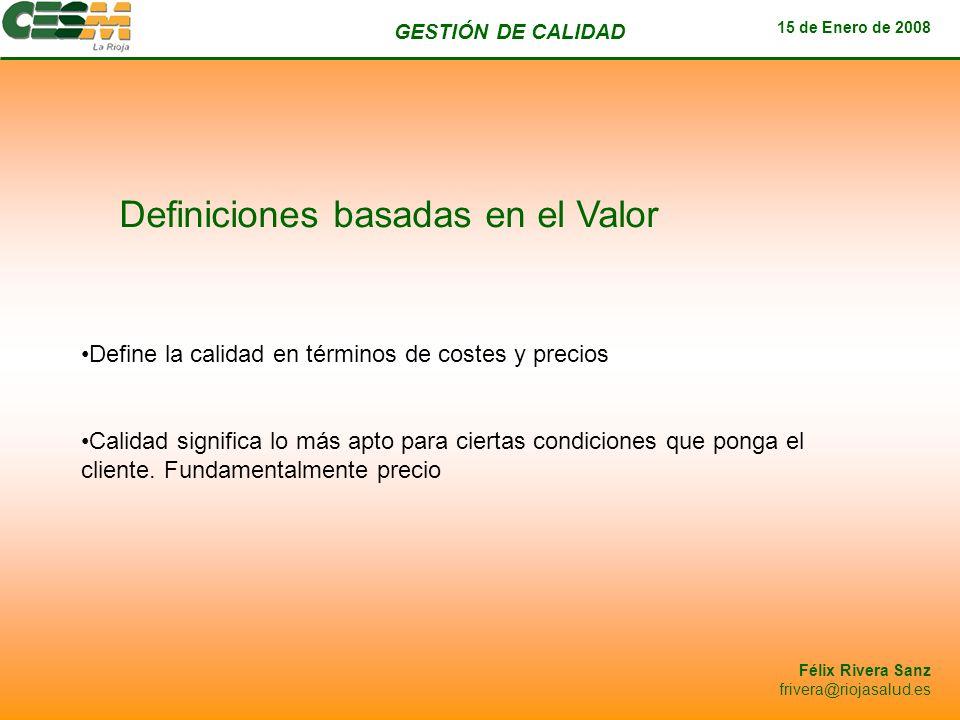 Definiciones basadas en el Valor