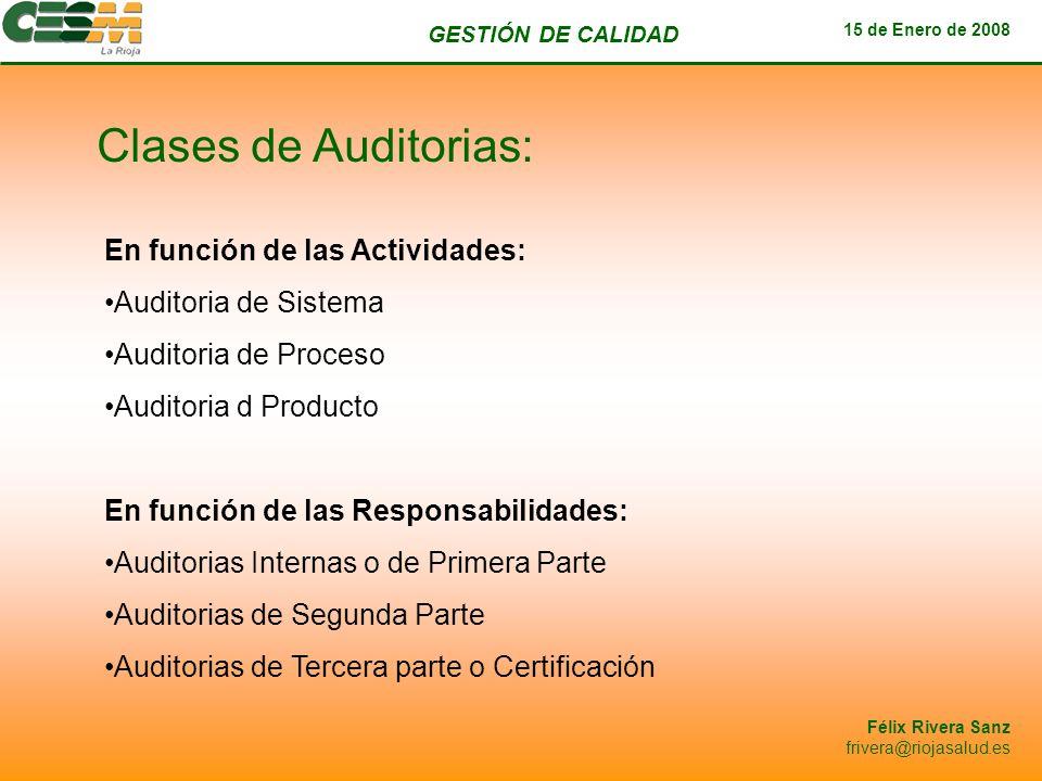 Clases de Auditorias: En función de las Actividades: