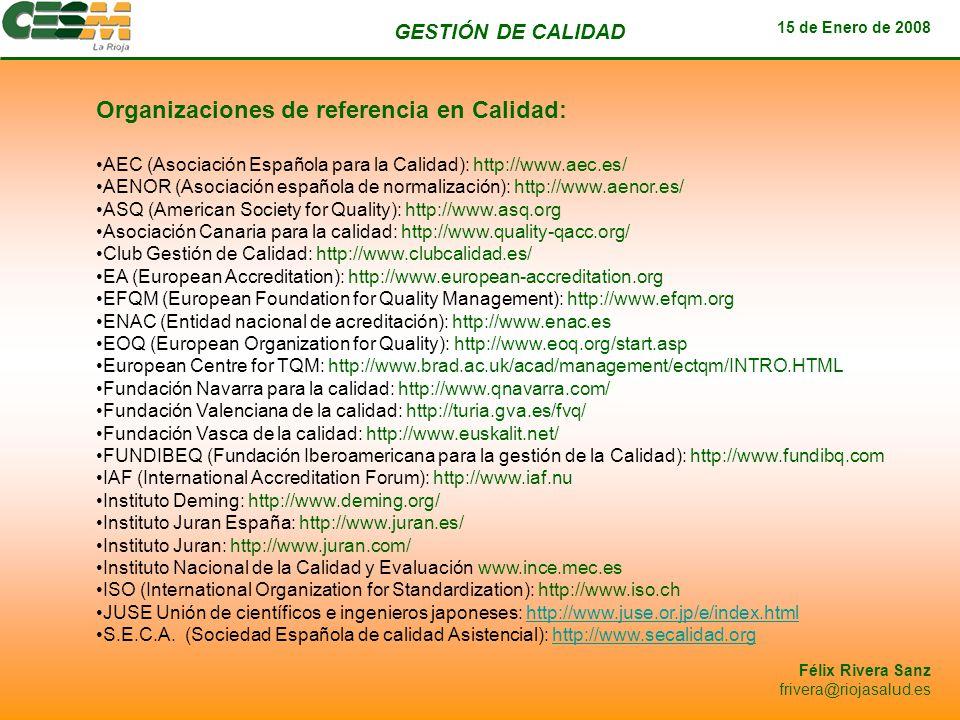 Organizaciones de referencia en Calidad: