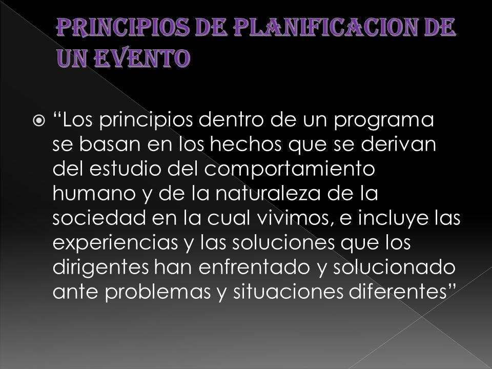 PRINCIPIOS DE PLANIFICACION DE UN EVENTO