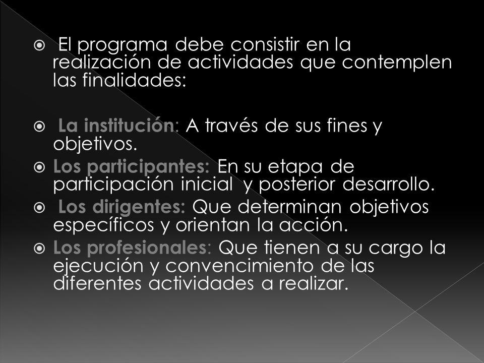El programa debe consistir en la realización de actividades que contemplen las finalidades: