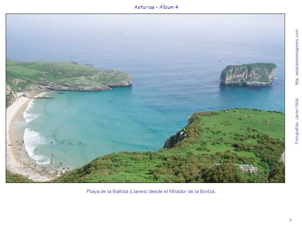 Playa de la Ballota (Llanes) desde el Mirador de la Boriza.
